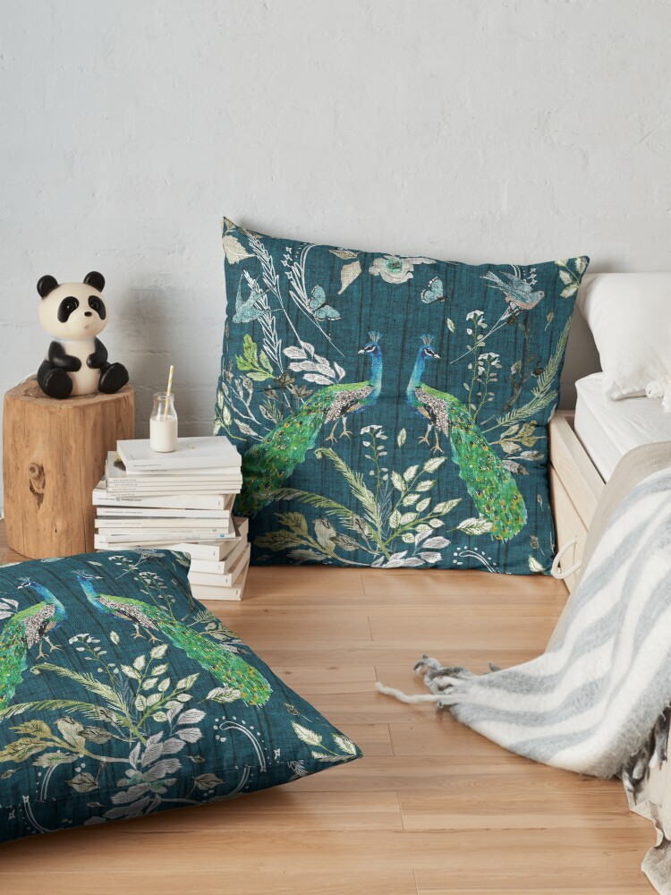 Alternate view of Peacock Chinoiserie (teal)  Floor Pillow
