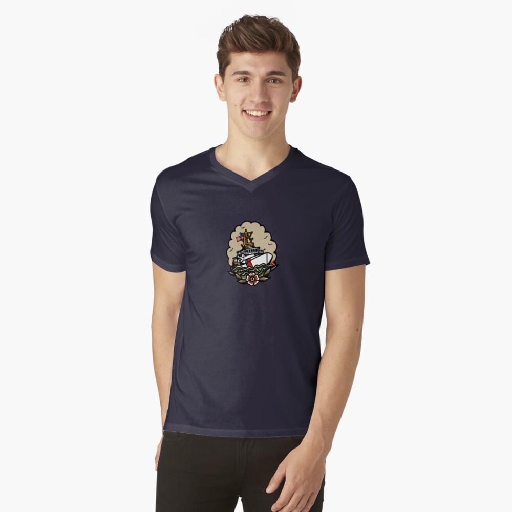 Underway Coast Guard Fast Response Cutter Traditional Tattoo Flash V-Neck T-Shirt