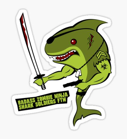 Badass Zombie Ninja Shark Soldier. Sticker