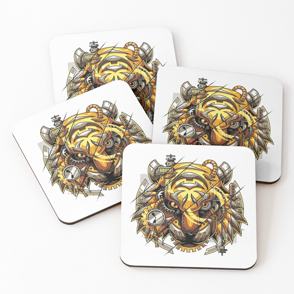 Digitalized Tiger Coasters (Set of 4)