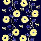 Art Nouveau - Yellow on Blue by Linda Callaghan
