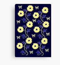 Art Nouveau - Yellow on Blue Canvas Print