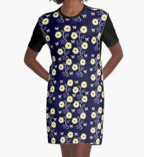 Art Nouveau - Yellow on Blue Graphic T-Shirt Dress