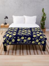 Art Nouveau - Yellow on Blue Throw Blanket