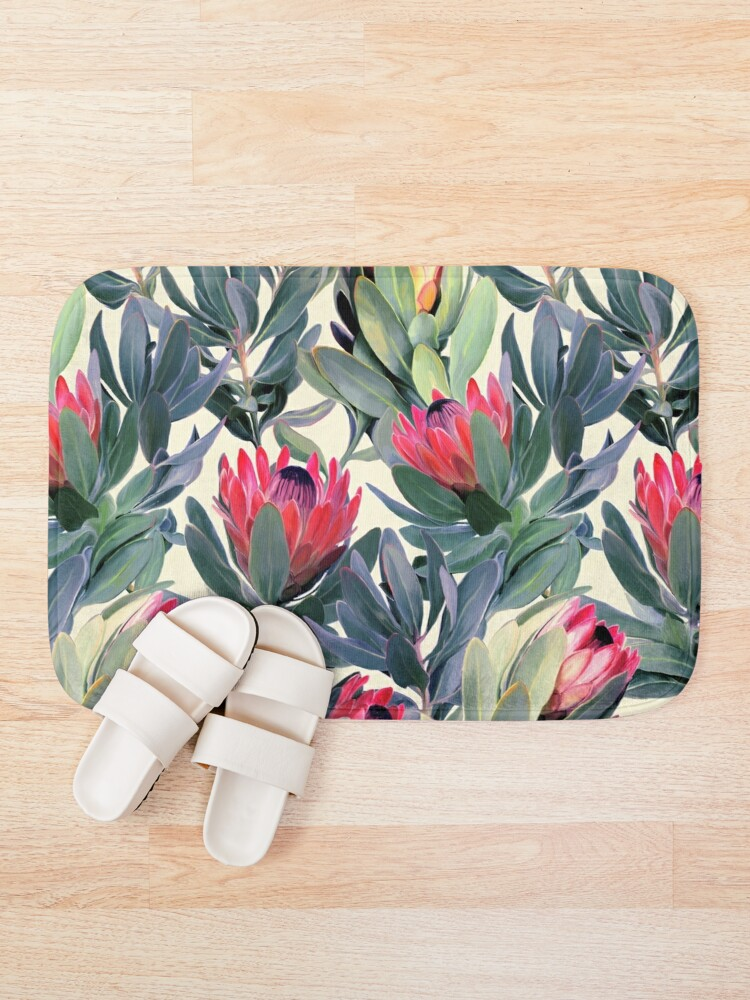 Alternate view of Painted Protea Pattern Bath Mat