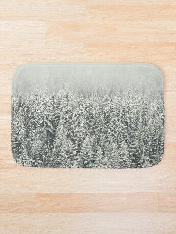 Bosque nevado Alfombra de baño
