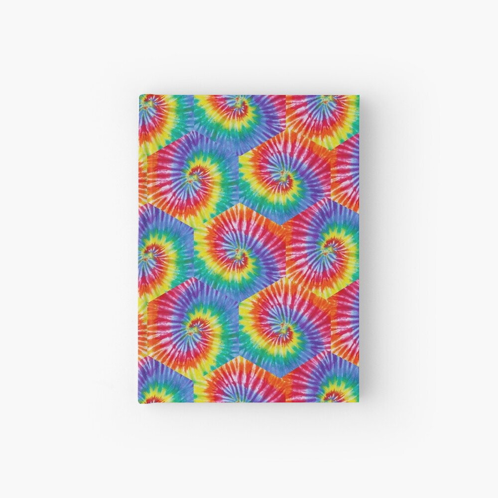 Tie-Dye Hexagon Psychedelic Bohemian Hippie Festival 60's Funky 70's Hardcover Journal