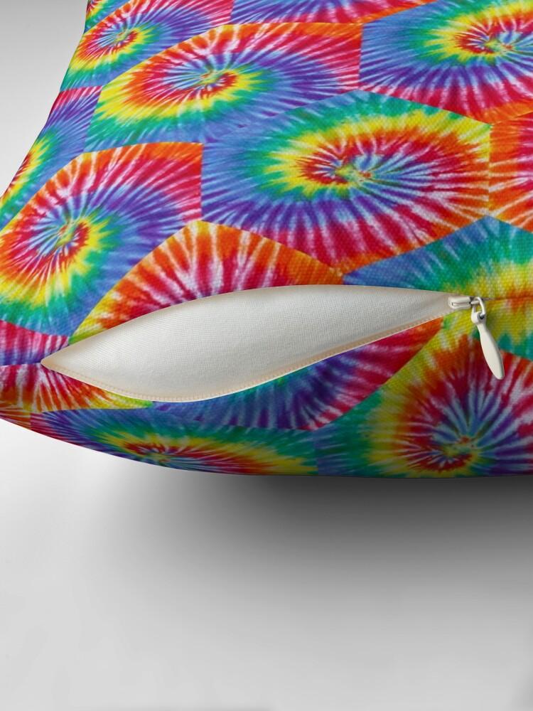Alternate view of Tie-Dye Hexagon Psychedelic Bohemian Hippie Festival 60's Funky 70's Throw Pillow