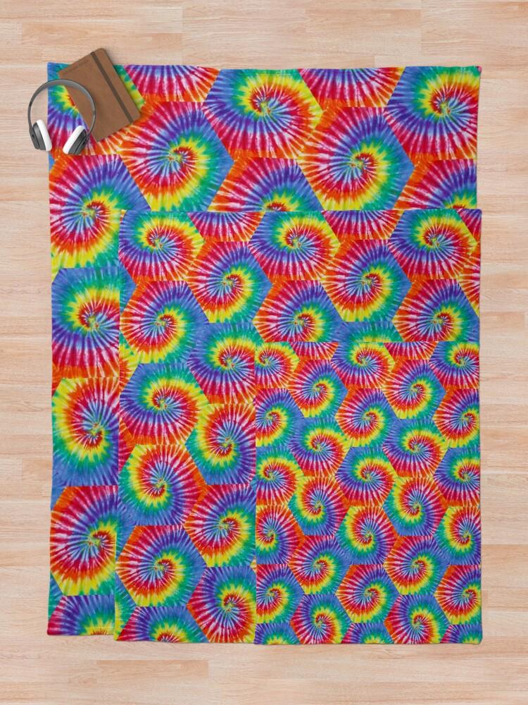 Alternate view of Tie-Dye Hexagon Psychedelic Bohemian Hippie Festival 60's Funky 70's Throw Blanket