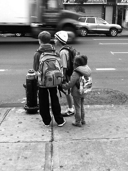 City kids waiting for the bus by ShellyKay