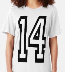 14, TEAM SPORTS, NUMMER 14, VIERZEHN, VIERZEHNT, Wettbewerb. Slim Fit T-Shirt