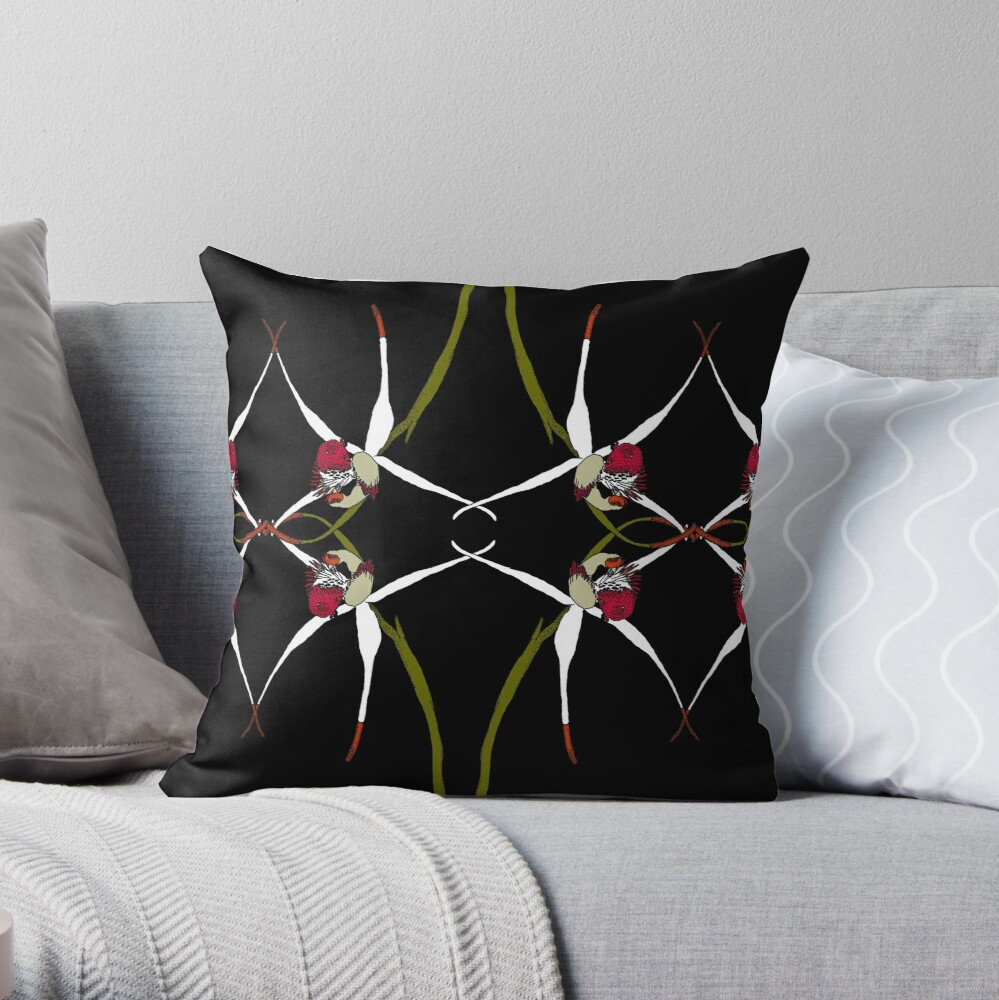 Exotic Native Orchid Mirror Design Throw Pillow