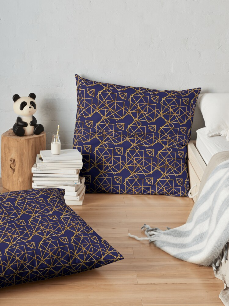 Alternate view of Navy blue and gold geometric print. Floor Pillow
