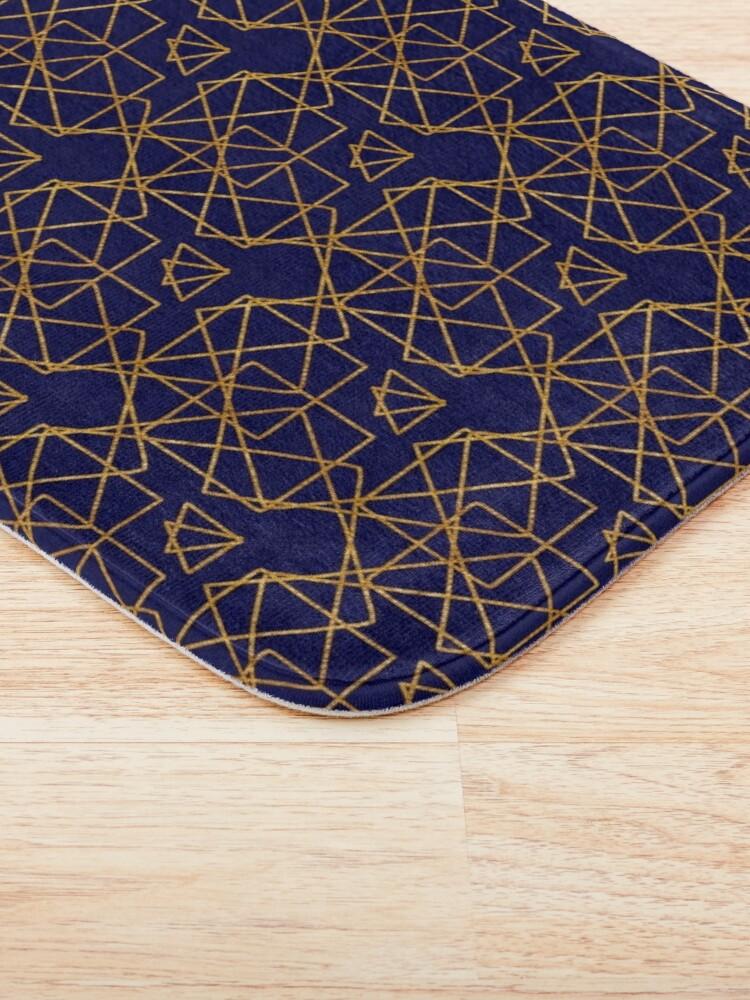 Alternate view of Navy blue and gold geometric print. Bath Mat