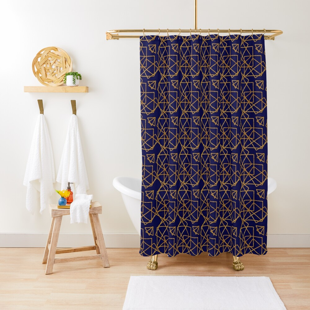 Navy blue and gold geometric print. Shower Curtain