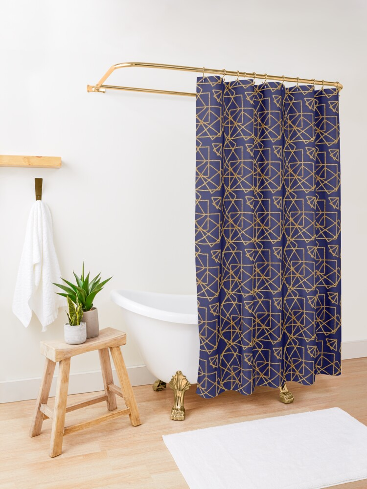 Alternate view of Navy blue and gold geometric print. Shower Curtain