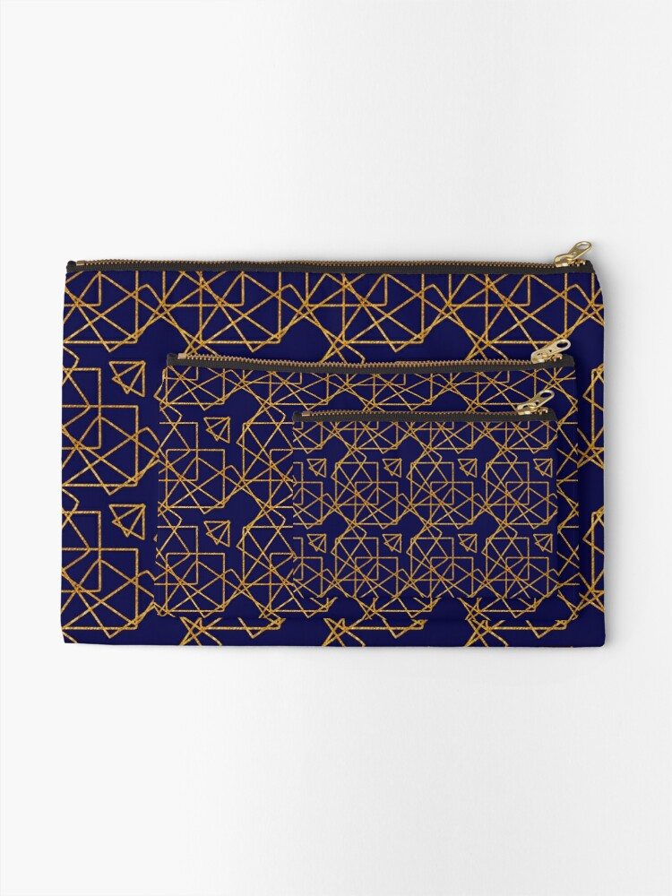 Alternate view of Navy blue and gold geometric print. Zipper Pouch