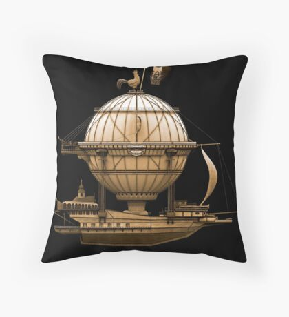 Steampunkesque Vintage Hot Air Balloon Airship Thing Floor Pillow