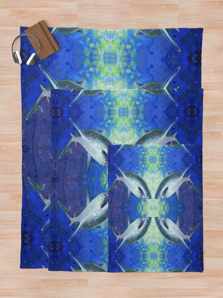 Alternate view of Great white shark painting - 2012 Throw Blanket
