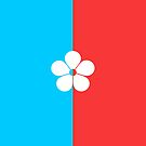 Turquoise blue, red and white geometric flower by infinitetango