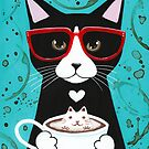 Tuxedo Kitty With A Catppuccino by Ryan Conners