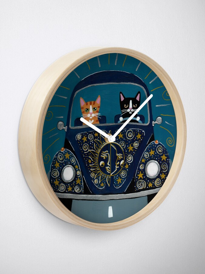 Alternate view of Sun and Stars and Moon Road Trip Cats Clock
