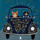 Sun and Stars and Moon Road Trip Cats by Ryan Conners