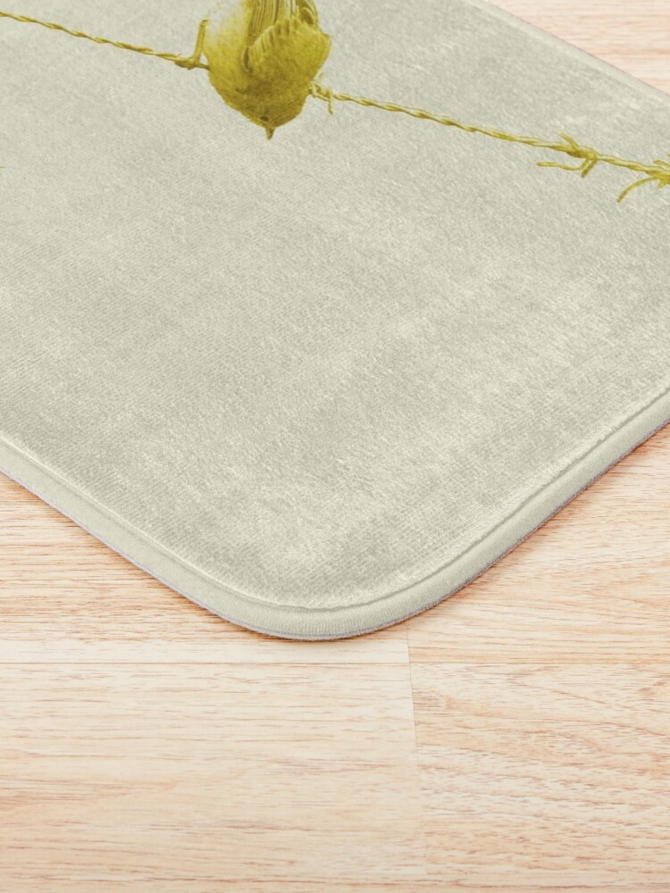 Alternate view of Monochrome - Yellow warblers on the wire Bath Mat