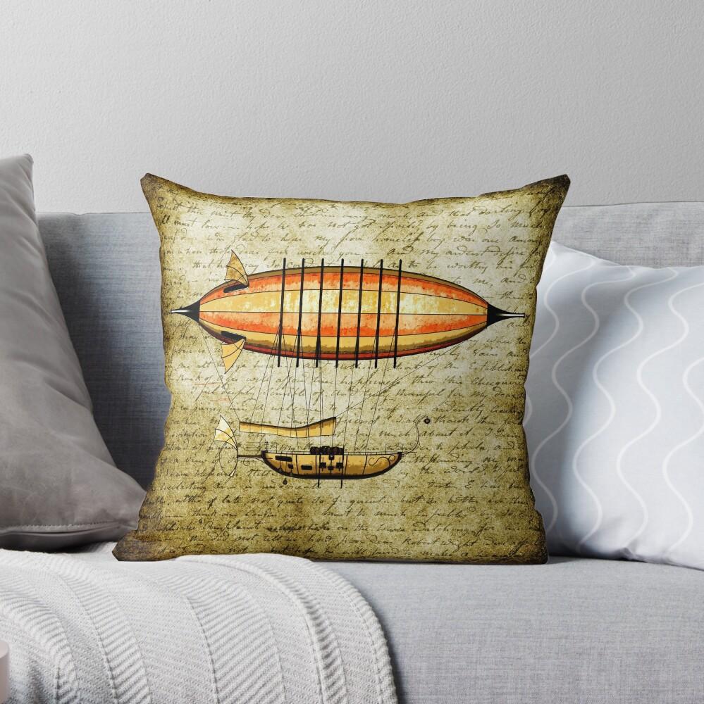 Elegant Vintage Steampunk Airship Throw Pillow