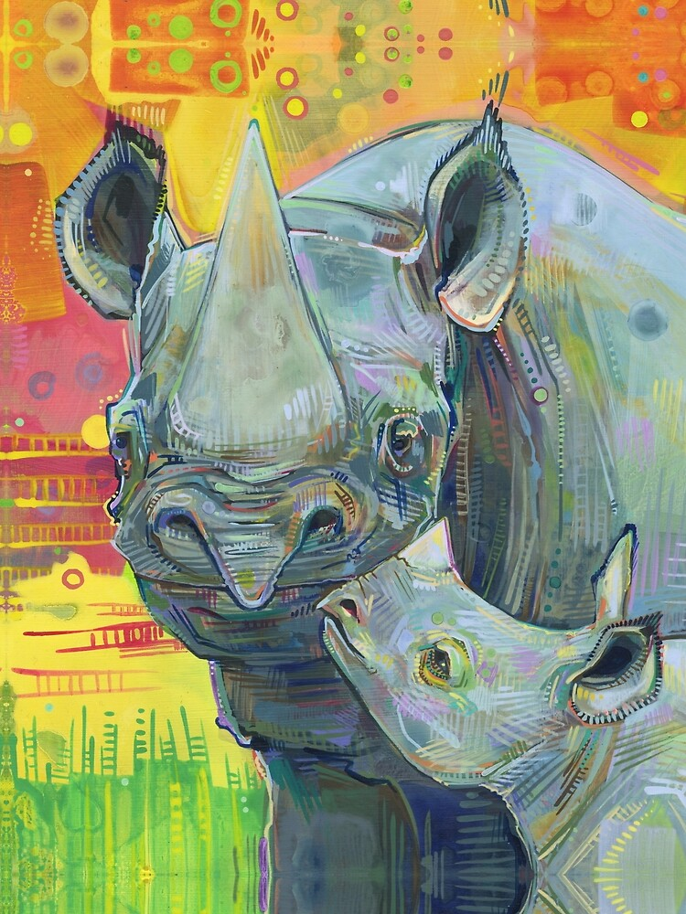 Rhinoceros painting - 2012 by gwennpaints