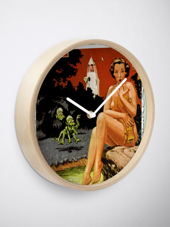 Alternate view of Invasion Of The Little Green Men (Aliens and Spaceship and Surprised Sunbather) Clock