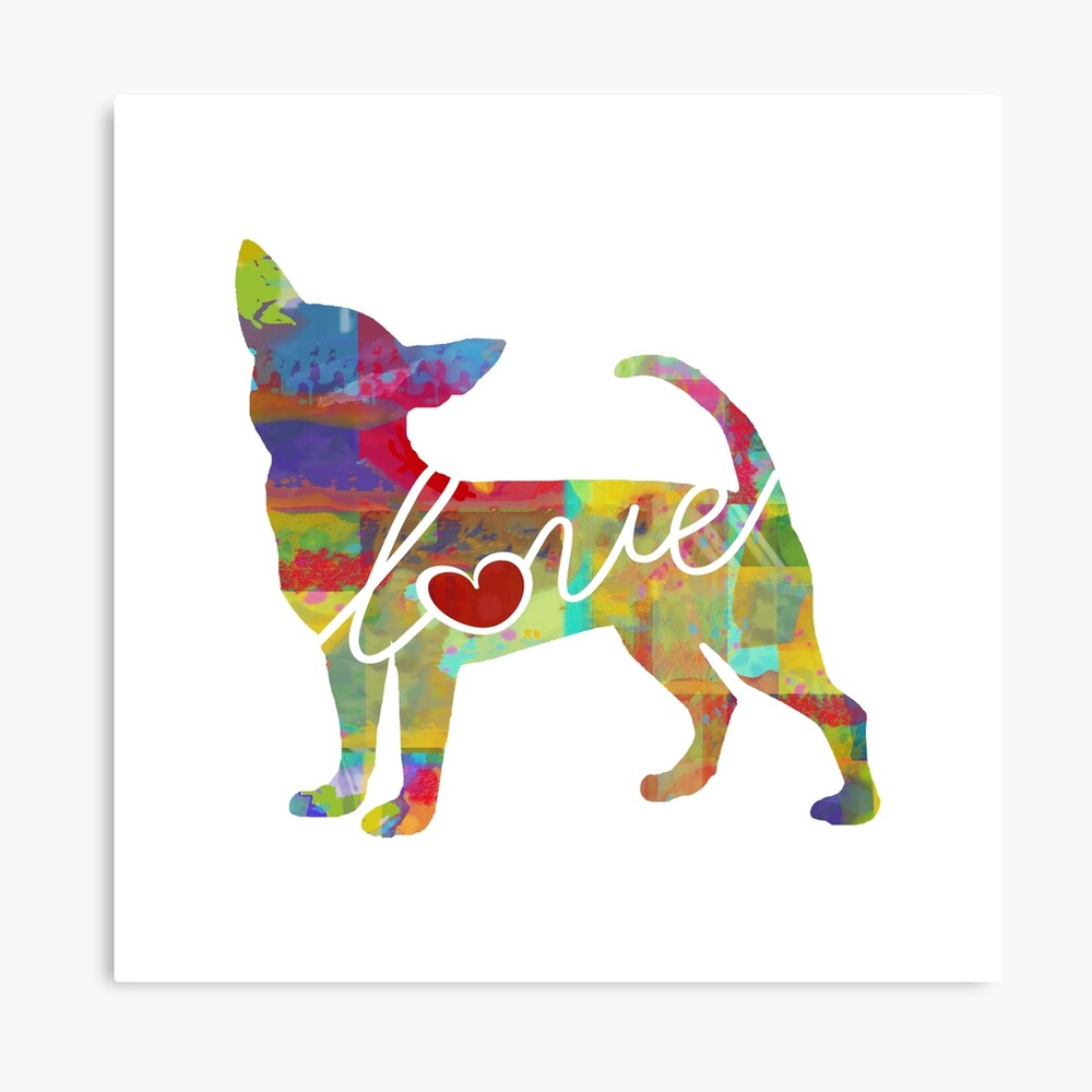 Chihuahua Dog Love - A Bright and Colorful Watercolor Style Gift Canvas Print