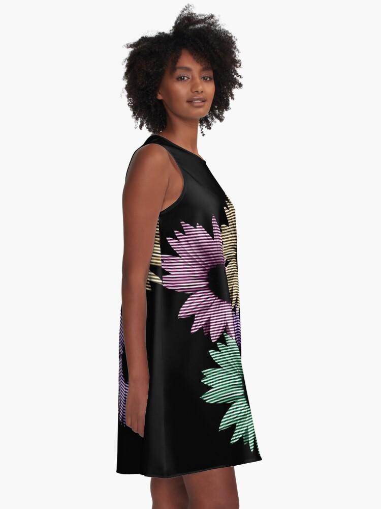 Alternative Ansicht von bunte Blumen, Streifen, gestreift, Muster A-Linien Kleid