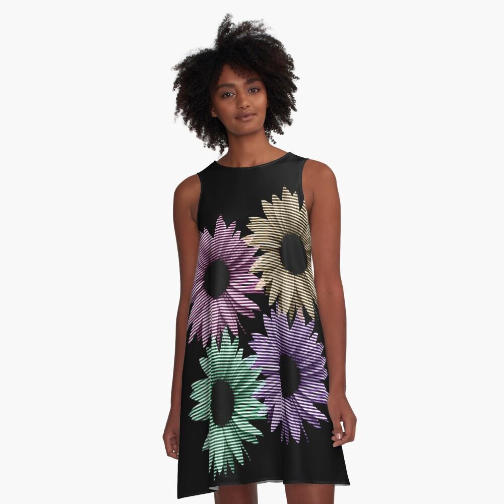 bunte Blumen, Streifen, gestreift, Muster A-Linien Kleid