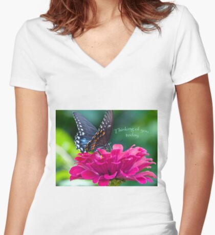 Thinking of you Today Card Women's Fitted V-Neck T-Shirt