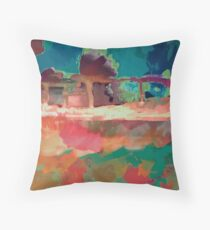 Abstract Laundry Boat in Blue, Green, Orange and Pink Throw Pillow