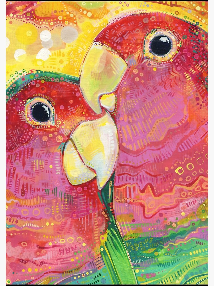 Peach-faced lovebird painting - 2012 by gwennpaints