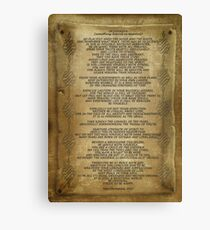 """Desiderata """"desired things"""" on parchment Canvas Print"""