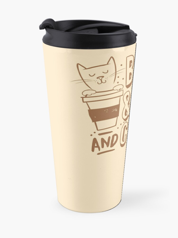 Alternate view of BOOKS and CATS and COFFEE Travel Mug