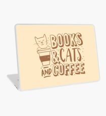 BOOKS and CATS and COFFEE Laptop Skin