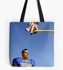 Cheerleader and Football Player Tote Bag