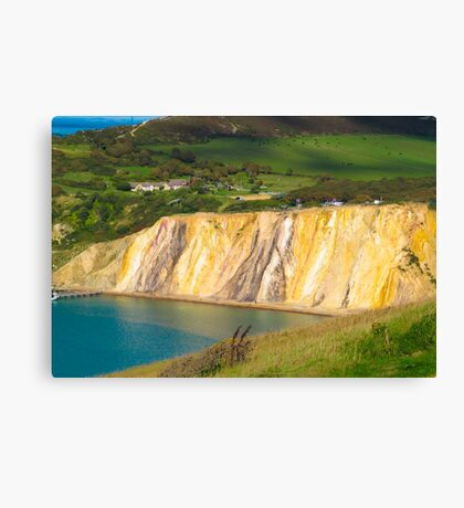 Coloured sand cliffs of Alum Bay Isle of Wight Canvas Print