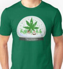 Merry Christmas Marijuana Snow Globe Unisex T-Shirt
