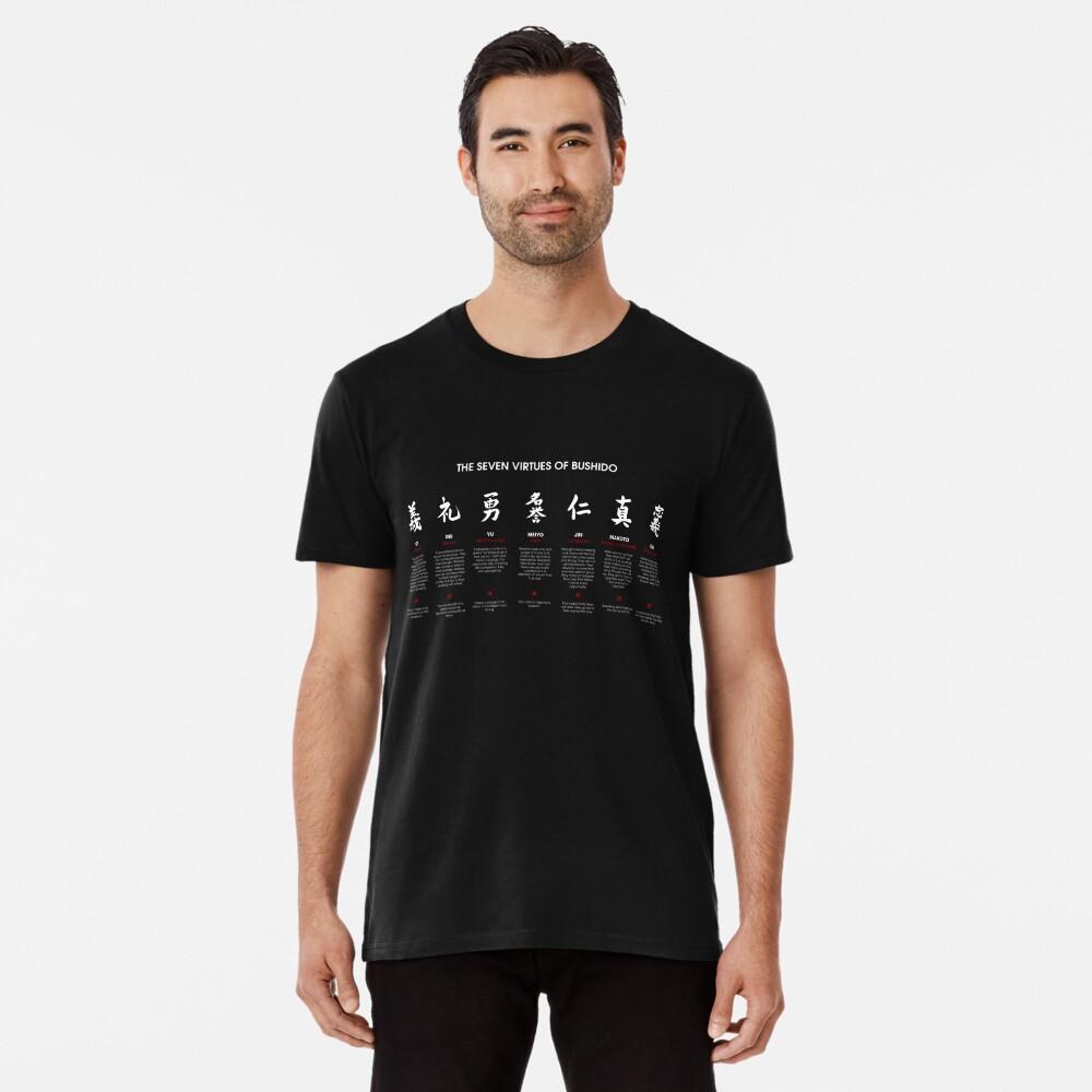 Las 7 virtudes de Bushido (texto blanco) Camiseta premium