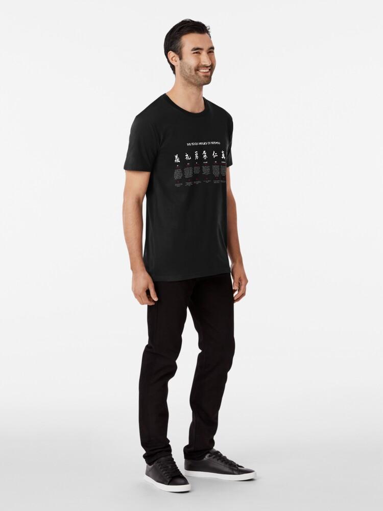 Vista alternativa de Camiseta premium Las 7 virtudes de Bushido (texto blanco)