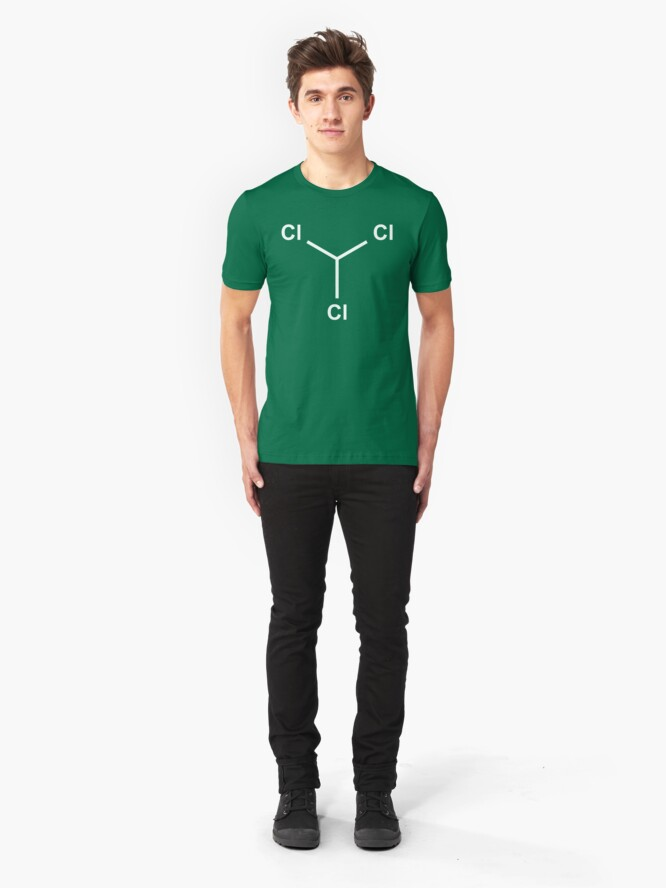 Alternate view of Chloroform Chemical Molecule Structure Slim Fit T-Shirt
