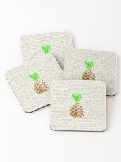 Psych Burton Guster Nicknames - Television Show Pineapple Room Decorative TV Pop Culture Humor Lime Neon Brown Coasters