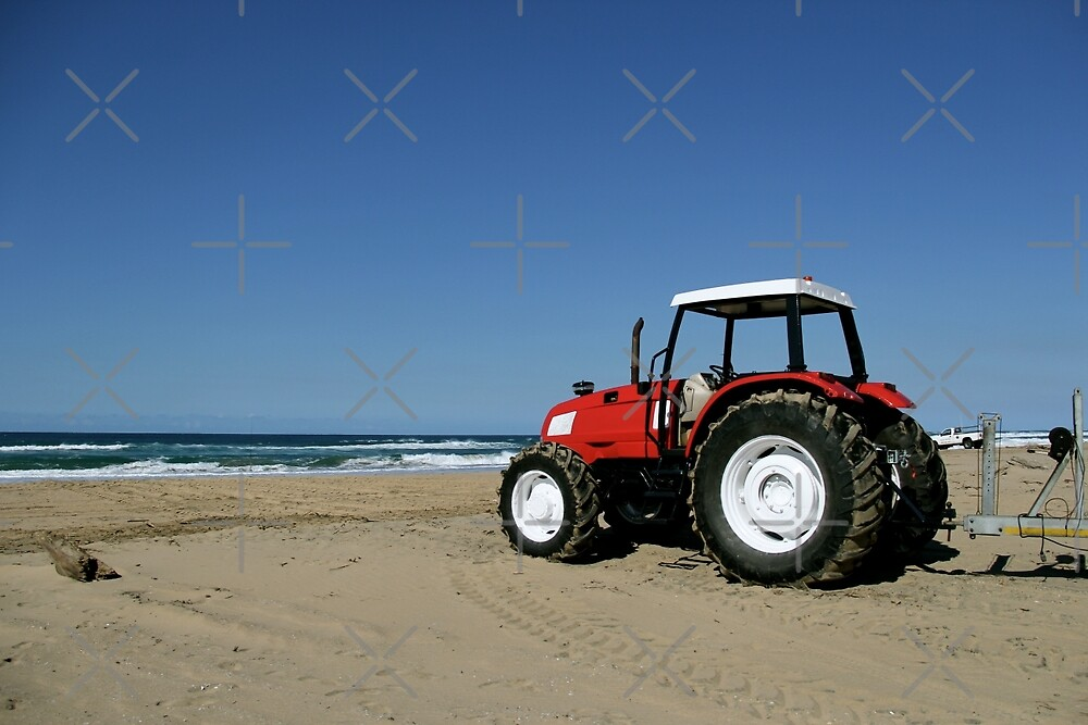 Tractor on the Beach by Raquel Fletcher