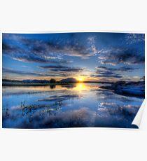 Willow lake Blue Poster