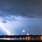 Lightning Strike and Fireworks by Bo Insogna